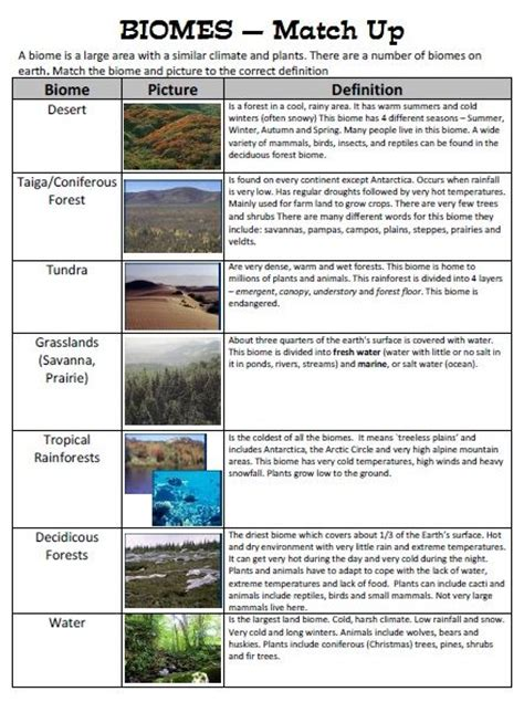 Biomes Worksheet Answers by Biomes Match Up Children Match Up A Biome Picture Of