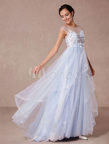 Brautkleider 3d Blumen by Blaue Spitze Hochzeitskleid Gericht Zug Illusion