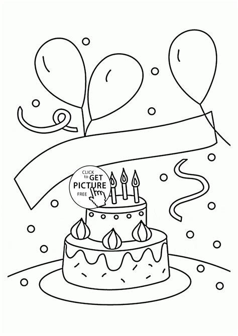 coloring pictures of birthday cakes and balloons birthday cake and balloons coloring page for kids holiday