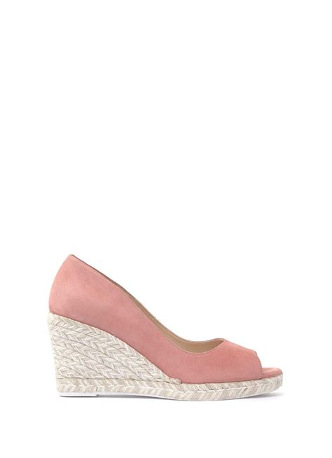 pink cleo peep toe wedge shoes mintvelvet