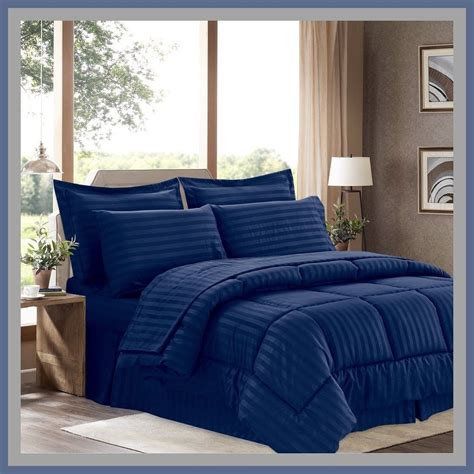 blue queen size comforter new ultra soft 8 pc reversible bedding bed in a bag