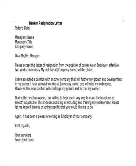 Bank Letter Of Notification 43 Sle Resignation Letter Templates Free Premium Templates