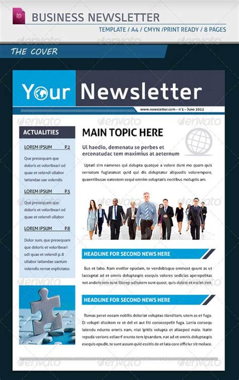 business newsletter template graphicriver modern business newsletter template a4