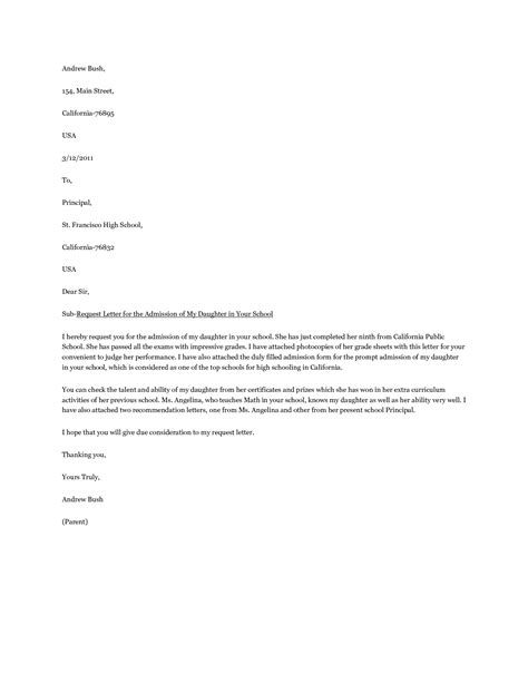 Nursing School Admission Letter Sles Sle Letter For School Application Sle Resume For Application Sales