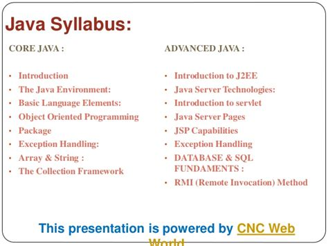 Introduction To C Programming Course Outline by Java Syllabus