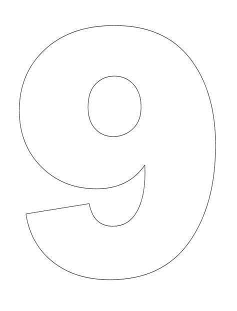 coloring page of number 9 number pictures to color number math and number