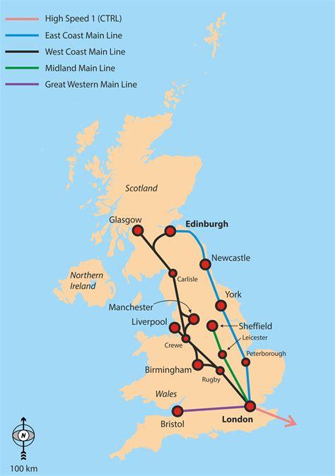 map uk rail lines map of east coast