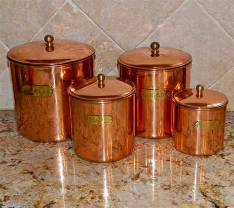 vintage copper canister set benjamin medwin canisters by