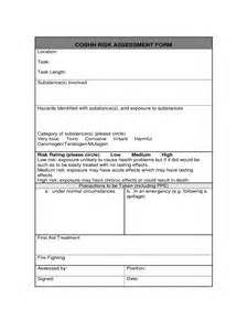 Coshh Assessment Template by Coshh Risk Assessment Form 2 Free Templates In Pdf Word