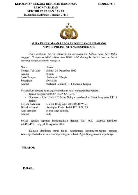 contoh surat tanda penerima laporan kehilangan barang model c 1 documents