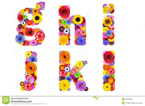 Bright L by Floral Alphabet Isolated On White Letters G H I J K