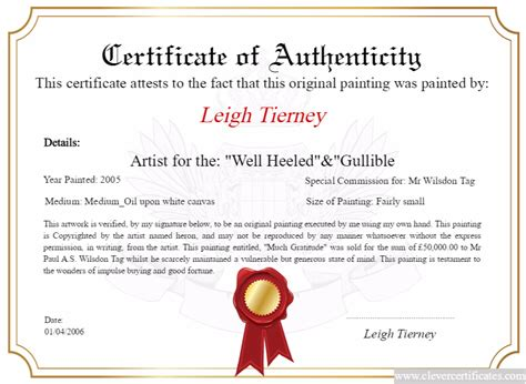 authenticity certificate template artist maker design and print your free