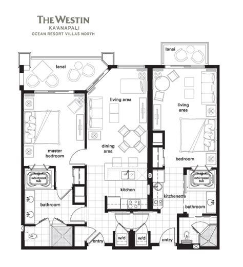 marriott grande vista 2 bedroom villa floor plan westin ka anapali ocean resort villas