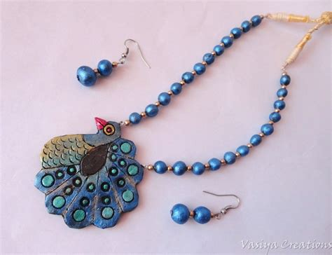 Handmade Terracotta Jewellery - terracotta jewellery handmade peacock necklace earrings