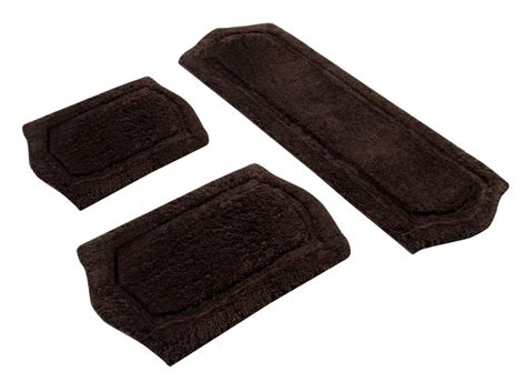 3 piece paradise memory foam bath rug set in chocolate