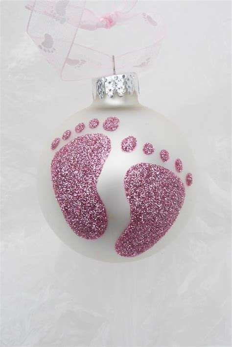 pink baby feet personalized footprint glitter by