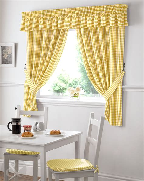 Kitchen Curtains Ready Made Gingham Check Kitchen Curtains Ready Made Pencil Pleat Net Curtain Set Ebay