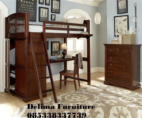 tempat tidur tingkat bawahnya meja belajar ranjang susun