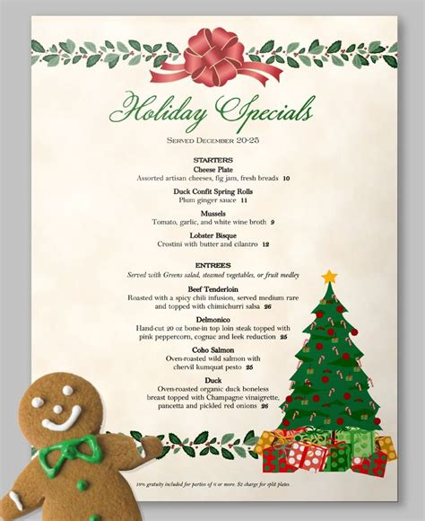1000 images about christmas on pinterest menu template