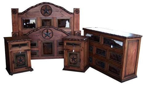 Cowhide Bedroom Furniture Beautiful Stained Bedroom Set With Cowhide Accents By Cowhide Western Furniture Store