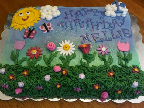 Flower Garden Cake S Birthday Flower Garden Birthday Sheet Cake Cakecentral