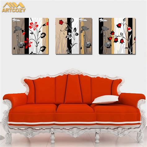 european painting floral modern home wall decor painting artcozy 3 piece the flowers modern home wall decor canvas