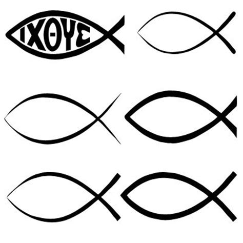 tattoo christian fish symbol religious and christian shapes set for photoshop and