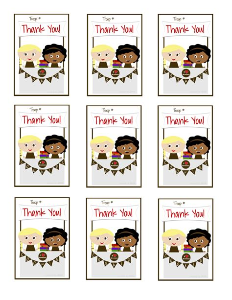 printable thank you cards girl scouts girls scouts brownies thank you cards cookie booth