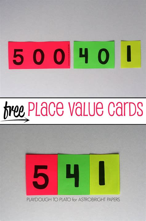 number place value cards printable place value cards colorize playdough to plato