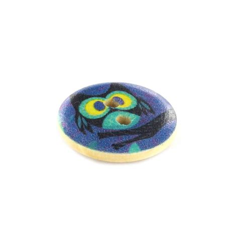 owl wooden button rounded shaped mirza multicolored