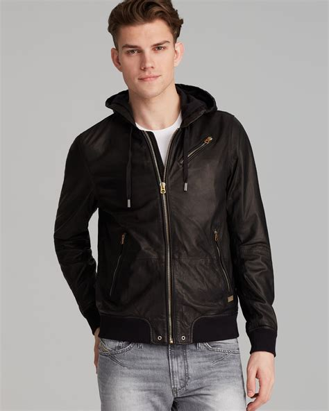 Diesel Leather Black 1 diesel hasso leather jacket in black for lyst