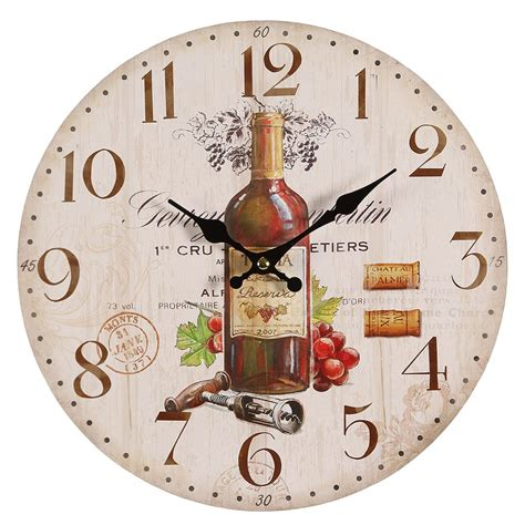 country kitchen clocks g1188 mediterranean wall clock with wine motive