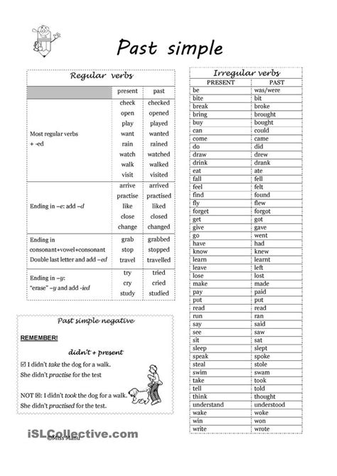 patterns of simple past tense for irregular verbs 1000 images about esl worksheets of the day on pinterest