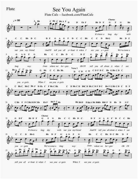 testo i see you flute cafe see you again furious 7 flute sheet