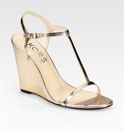 michael kors gold wedge sandals kors by michael kors ruby metallic leather tstrap wedge