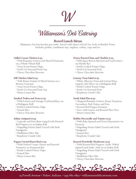 lunch menu template 14 best catering menus images on birthdays