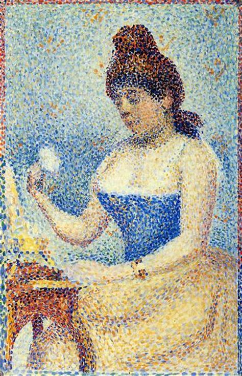 seated model side view 1887 georges seurat oil study for quot young woman powdering herself quot 1889 1890