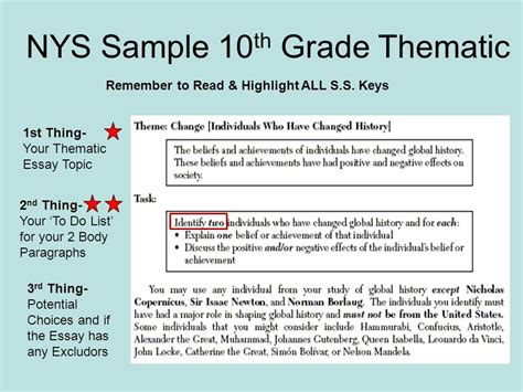 how to guide for thematic essays ppt download how to guide for thematic essays ppt download