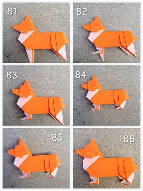 Paper Folding Steps - origami corgi has 80 folding steps papercraft