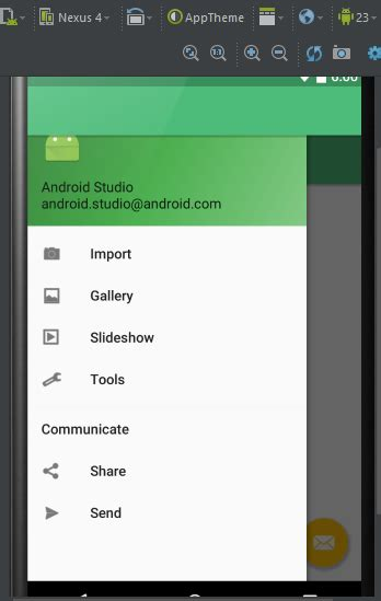 android drawer layout width can i preview an open navigation drawer in android studio