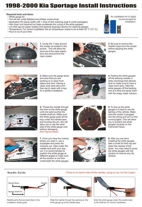 download car manuals 2000 kia sportage instrument cluster purchase white face gauge kit fits 1998 2000 kia sportage metric kph kmh dash cluster motorcycle