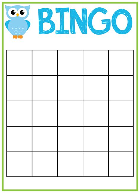 Bingo Template Owl Baby Shower Bingo Cards