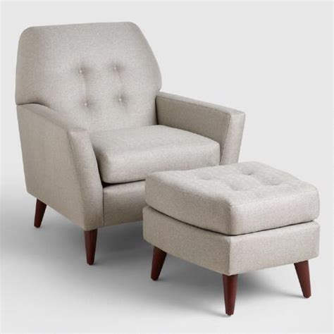 Vapor Gray Tufted Arlo Chair And Ottoman Set World Market