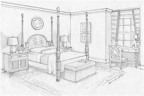 Bedroom Drawing The Rendering Perspective