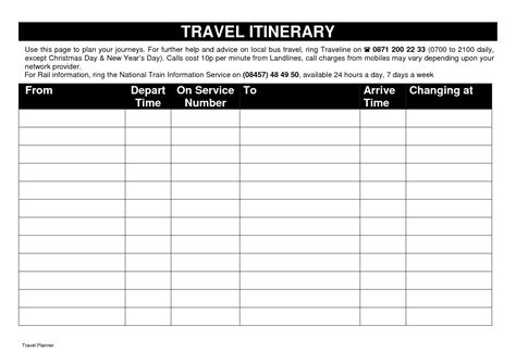calendar itinerary template 10 best images of printable itinerary templates free