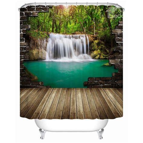 3d Shower Curtains peaceful pastoral waterfall and lake 3d shower curtain