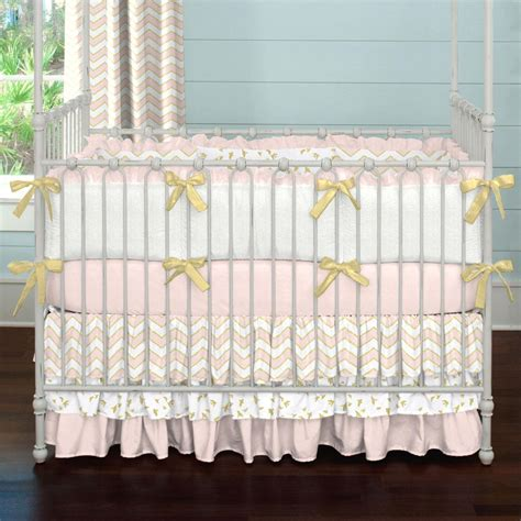 pink and gold baby bedding pale pink and gold chevron 3 piece crib bedding set