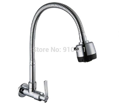 wholesale kitchen faucets wholesale and retail promotion new chrome wall mounted kitchen faucet swivel spout dual sprayer