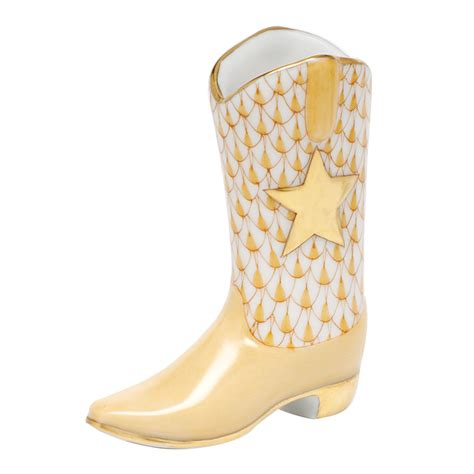 Cowboy Boot L by Herend Shaded Butterscotch Fishnet Figurine Cowboy Boot 2 25 Quot L X 2 5 Quot H