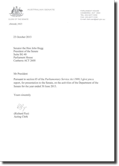 Transmittal Letter For Portfolio Letter Of Transmittal Parliament Of Australia